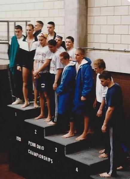 1991-Todd Tolson, Bill Dorenkott, Alan Jackson, Chad Guist 1991 Penn Ohio 400 Free Relay.jpg